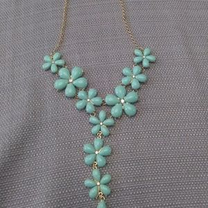 "Mint Flower ""Y"" Shaped Necklace"